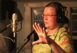 Pia singing vocal tracks in Hungrytown's home studio, VT, USA