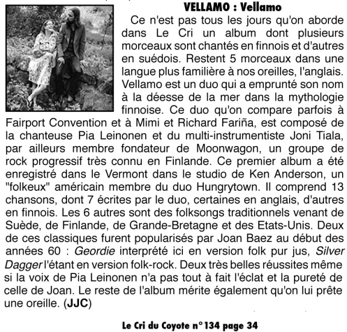 Review in Le Cri Du Coyote by Jean Jacques Corrio in June 2013